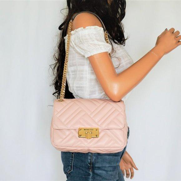Michael Kors Peyton M Shoulder Flap Bag Pink